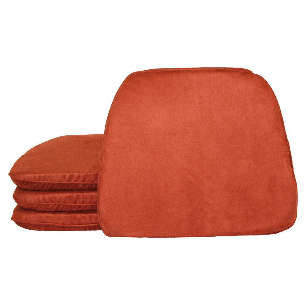 Dark Orange Brentwood Faux Suede Chairpad (4 Pack)