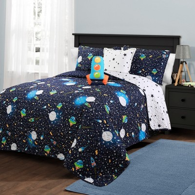 Universe Quilt Set with Spaceship Throw Pillow Navy - Lush Décor