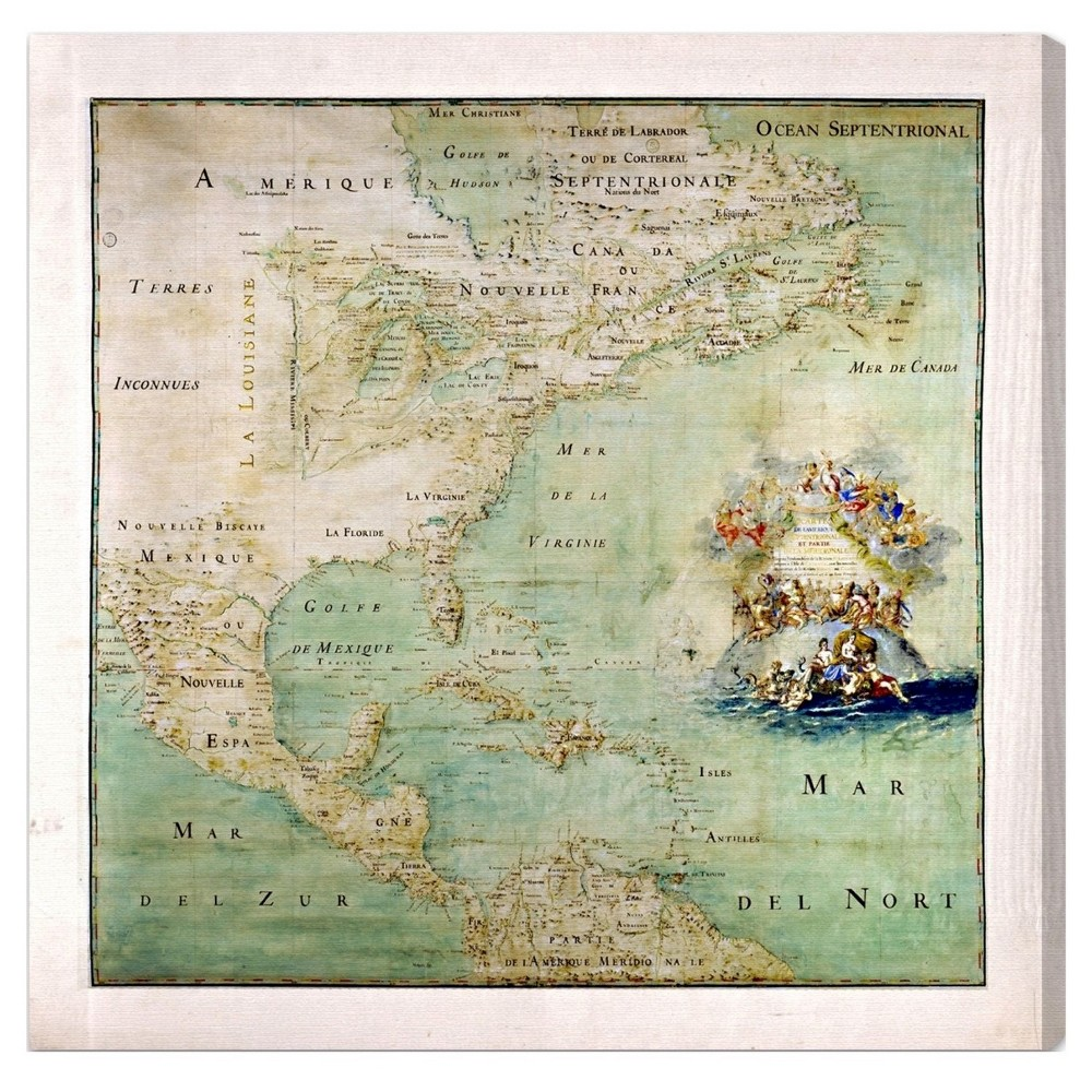 "Image of ""Oliver Gal Unframed Wall """"Amerique Septentrionale Map 1600s"""" Canvas Art (20x20), Multi-Colored"""