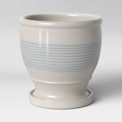 "8"" Stoneware Ceramic Lines Planter White - Threshold™"