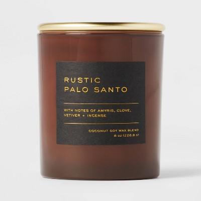 8oz Lidded Glass Jar Black Label Rustic Palo Santo Candle - Threshold™