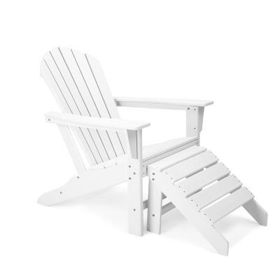 Plastic Resin Adirondack Chair with Ottoman - White - EDYO LIVING