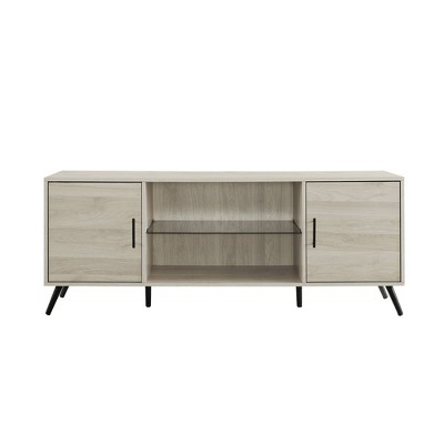 """Glass and Wood Mid-Century Modern Storage Console TV Stand for TVs up to 65"""" - Saracina Home"""