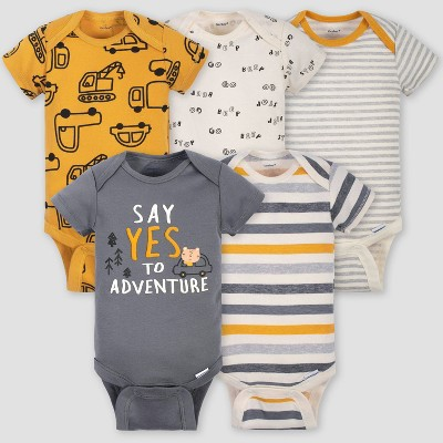 Gerber Baby Boys' 5pk Short Sleeve Vehicle Bodysuits - Gold/Gray 6-9M