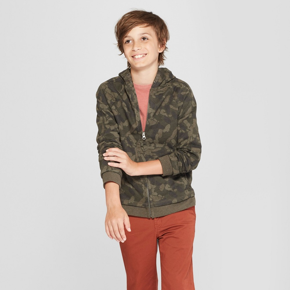 Boys' Long Sleeve Sweatshirt - Cat & Jack Green M thumbnail
