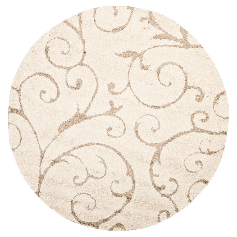 Cream/Beige (Ivory/Beige) Abstract Shag/Flokati Loomed Round Area Rug - (8' Round) - Safavieh
