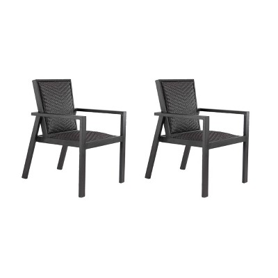 2ct Modern Wicker Dining Chairs - Black - Olivia & May