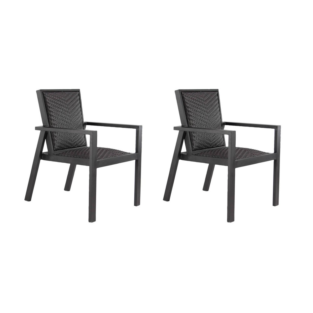 Image of 2ct Modern Wicker Dining Chairs - Black - Olivia & May