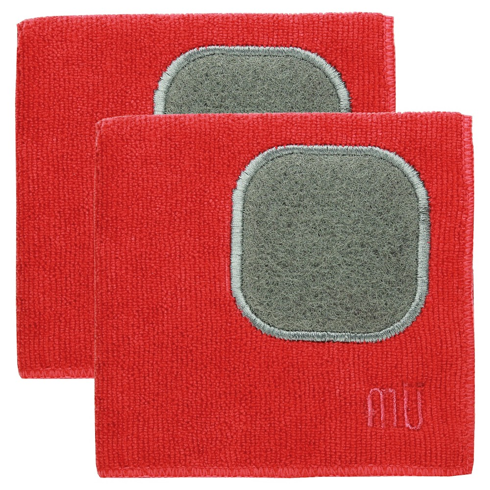 "Image of ""12""""X12"""" 2pk Microfiber Dish Cloth With Scrubber Red - Mu Kitchen"""