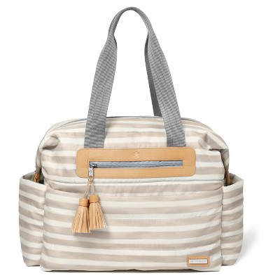 Skip Hop Riverside Ultra Light Oyster Stripe Diaper Satchel