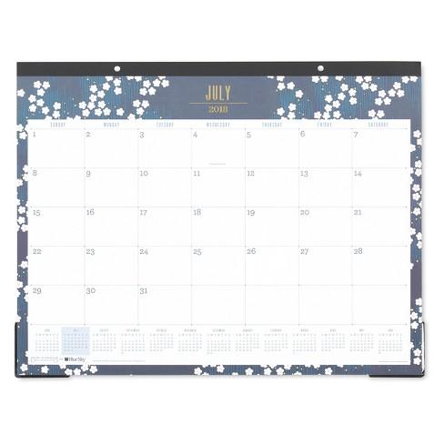 2018 19 Academic Desktop Calendar 22 X 17 Blue White Flowers
