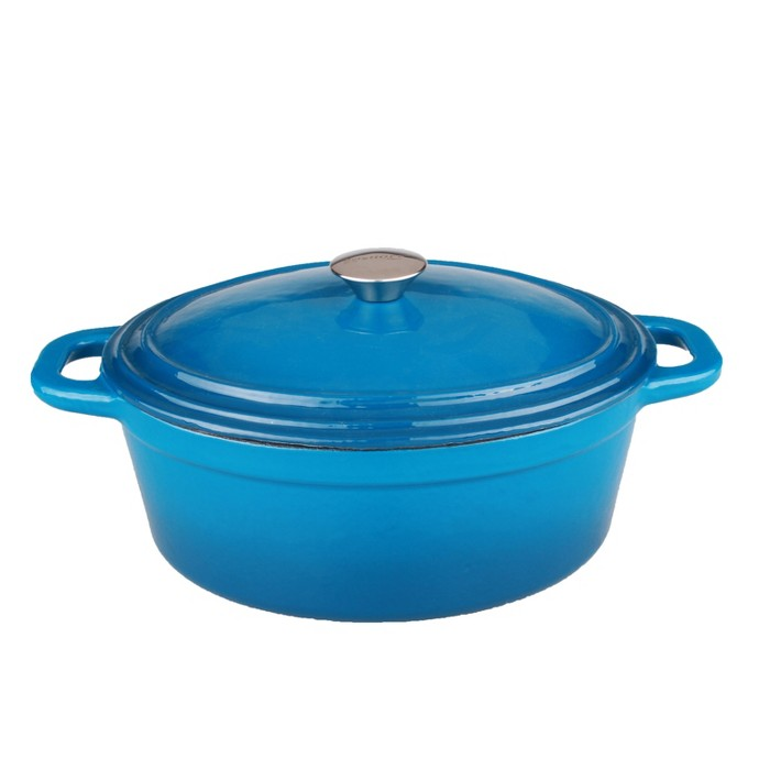 BergHOFF Neo 8 Qt Cast Iron Oval Covered Casserole, Blue : Target