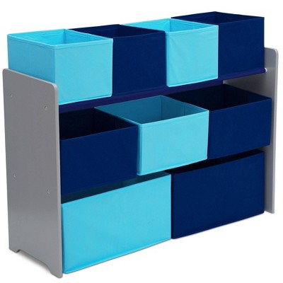 9 Bin Deluxe Toy Organizer Gray/Blue - Delta Children