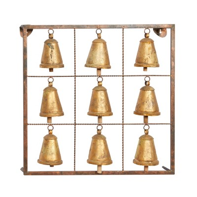 """32"""" Farmhouse Iron Square Framed Hanging Cowbells Wall Plaque - Olivia & May"""