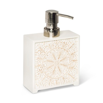 Carved White Medallion Soap/Lotion Dispenser White - Opalhouse™