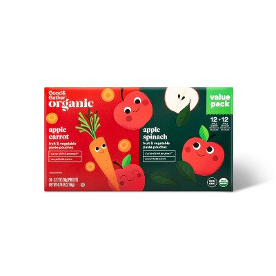 Organic Applesauce Pouches - Apple Carrot & Apple Spinach - 24ct - Good & Gather™