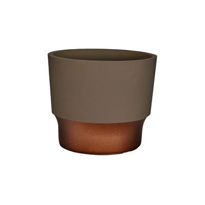 The HC Companies 3 Inch Round Plastic Sprite Decorative Indoor Flower Succulent Planter Pot with Drain Plug Hole, Artisan Taupe