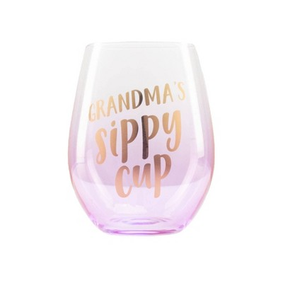 Pearhead Grandma's Sippy Cup Wine Glass 16 oz