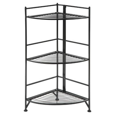 "32.25"" 3 Tier Corner Folding Metal Corner Shelf Black - Breighton Home"
