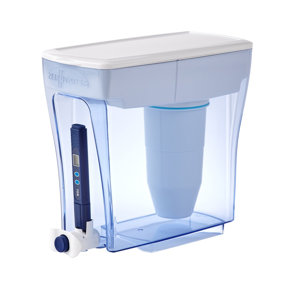 ZeroWater 20 Cup Water Pitcher with Ready-Pour + Free Water Quality Meter, Blue