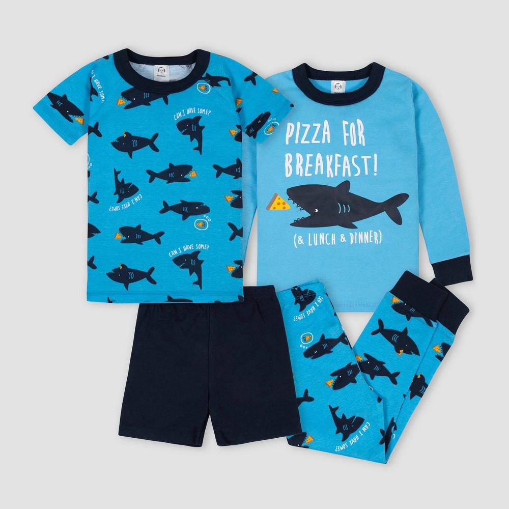 Image of Gerber Baby Boys' 4pc Shark 100% Cotton Pajama Set - Blue/Black 12M, Boy's, Black/Blue