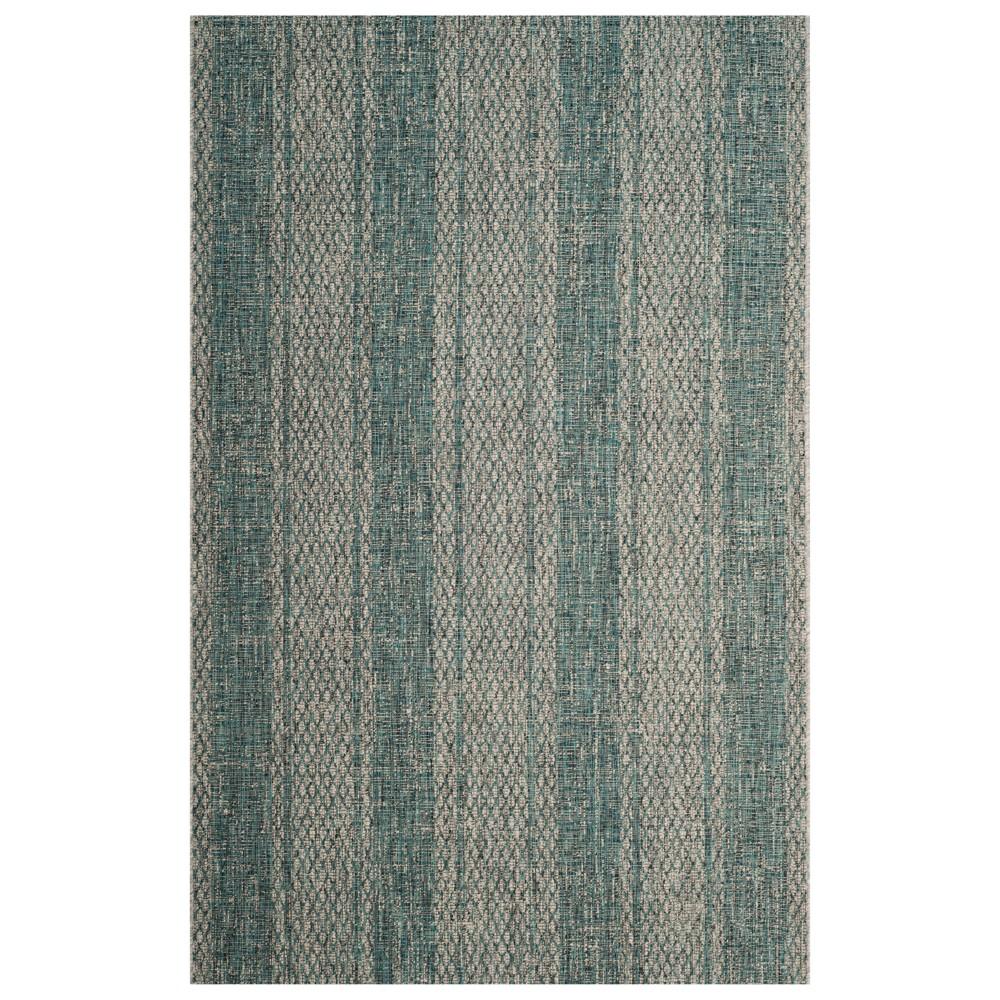 Grady 4' x 5'7 Indoor/Outdoor Rug - Light Gray/Teal (Light Gray/Blue) - Safavieh