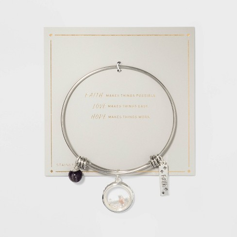 Stainless Steel Faith Hope Love Expandable Bracelet - Silver - image 1 of 2
