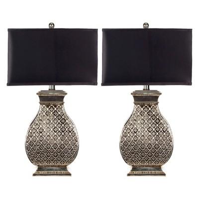 "(Set of 2)29"" Malaga Table Lamp Antique Silver (Includes Energy Efficient Light Bulb)- Safavieh"