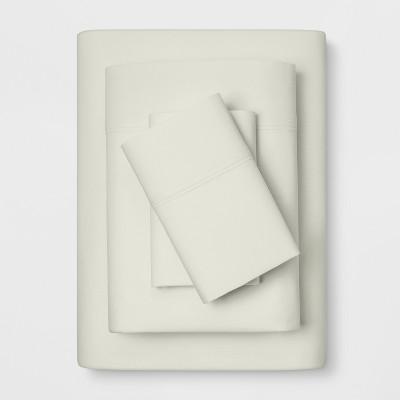 California King 300 Thread Count Solid Organic Sheet Set Snowfall White - Threshold™
