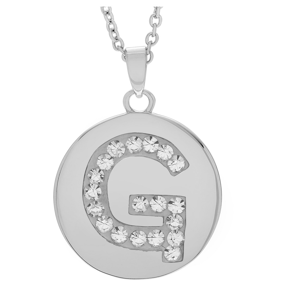 Women's Journee Collection Brass Circle Initial Pendant Necklace with Cubic Zirconia - Silver, G (17.75), Silver Letter - G