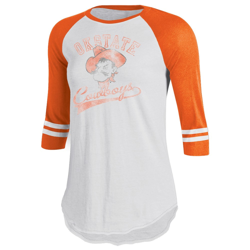 Oklahoma State Cowboys Women's Retro Tailgate White/3/4 Sleeve T-Shirt M, Multicolored
