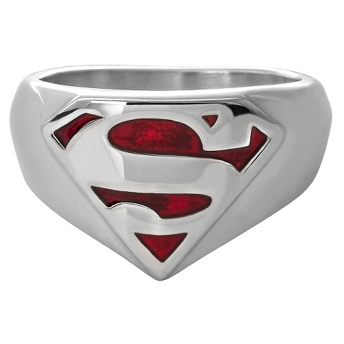 Men's DC Comics® Superman Silhouette Logo Ring in Stainless Steel - Silver (10) - image 1 of 1