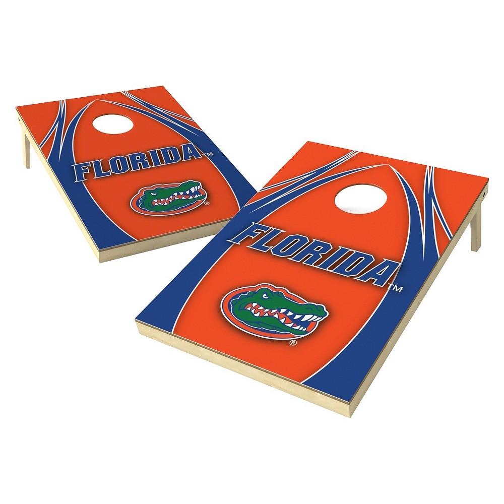 Florida Gators Wild Sports 2' x 3' V Logo Design Tailgate Toss Platinum Cornhole Set