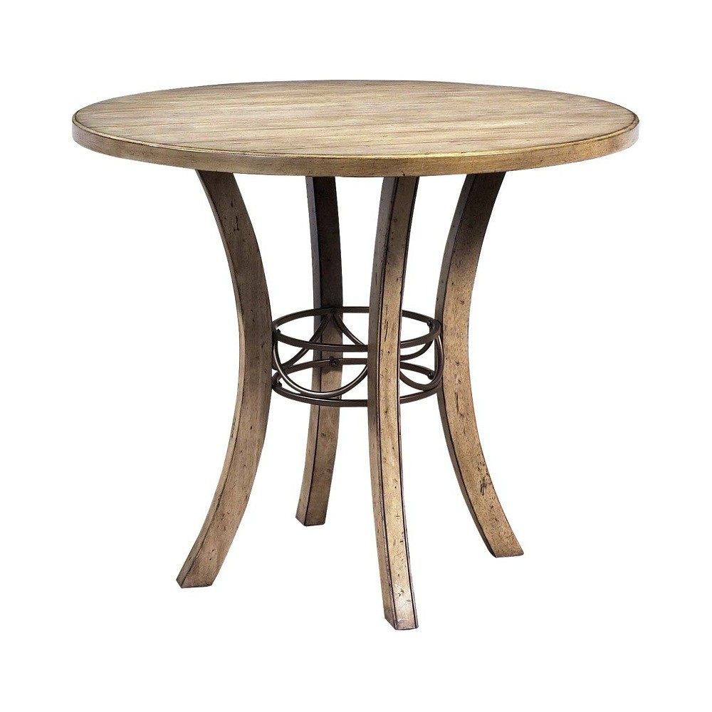 5 Piece Charleston Round Wood Dining Set With Padded Back Chairs Desert Tan - Hillsdale