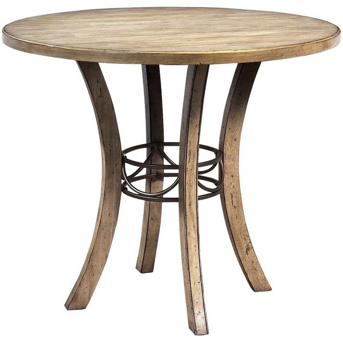 5 Piece Charleston Round Wood Dining Set With Padded Back Chairs Desert Tan - Hillsdale - image 1 of 2