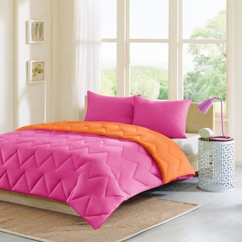 Pink/Orange Penny Reversible Down Alternative Comforter Mini Set  King/California King 3pc
