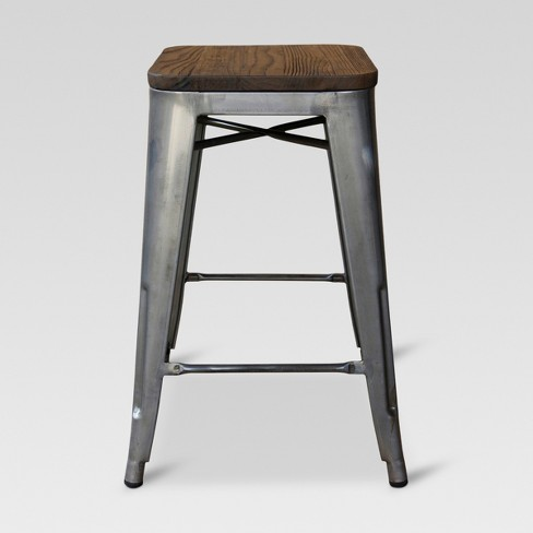 Hampden Industrial Wood Top 29 Barstool Metal Threshold Target