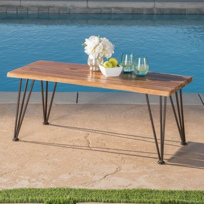 Zion Industrial Coffee Table   Teak/Rustic Metal   Christopher Knight Home