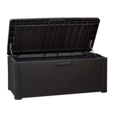 Toomax Santorini Plus Lockable Deck Storage Box Bench for Cushioned Outdoor Pool Patio Garden Furniture or Indoor Toy Container, 145 Gal (Anthracite)