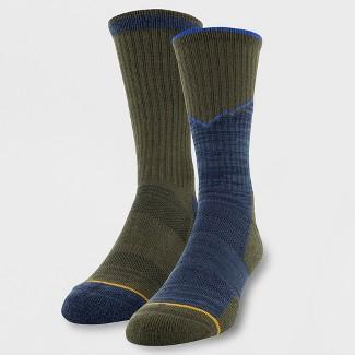 Mens Signature Gold 2pk Urban Hiker Boot Socks - Green Olive 10-13