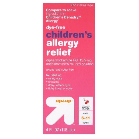 Children's Diphenhydramine HCI Allergy Relief Liquid - Cherry - 4 fl oz - Up&Up™ (Compare to active ingredient in Children's Benadryl Allergy) - image 1 of 1