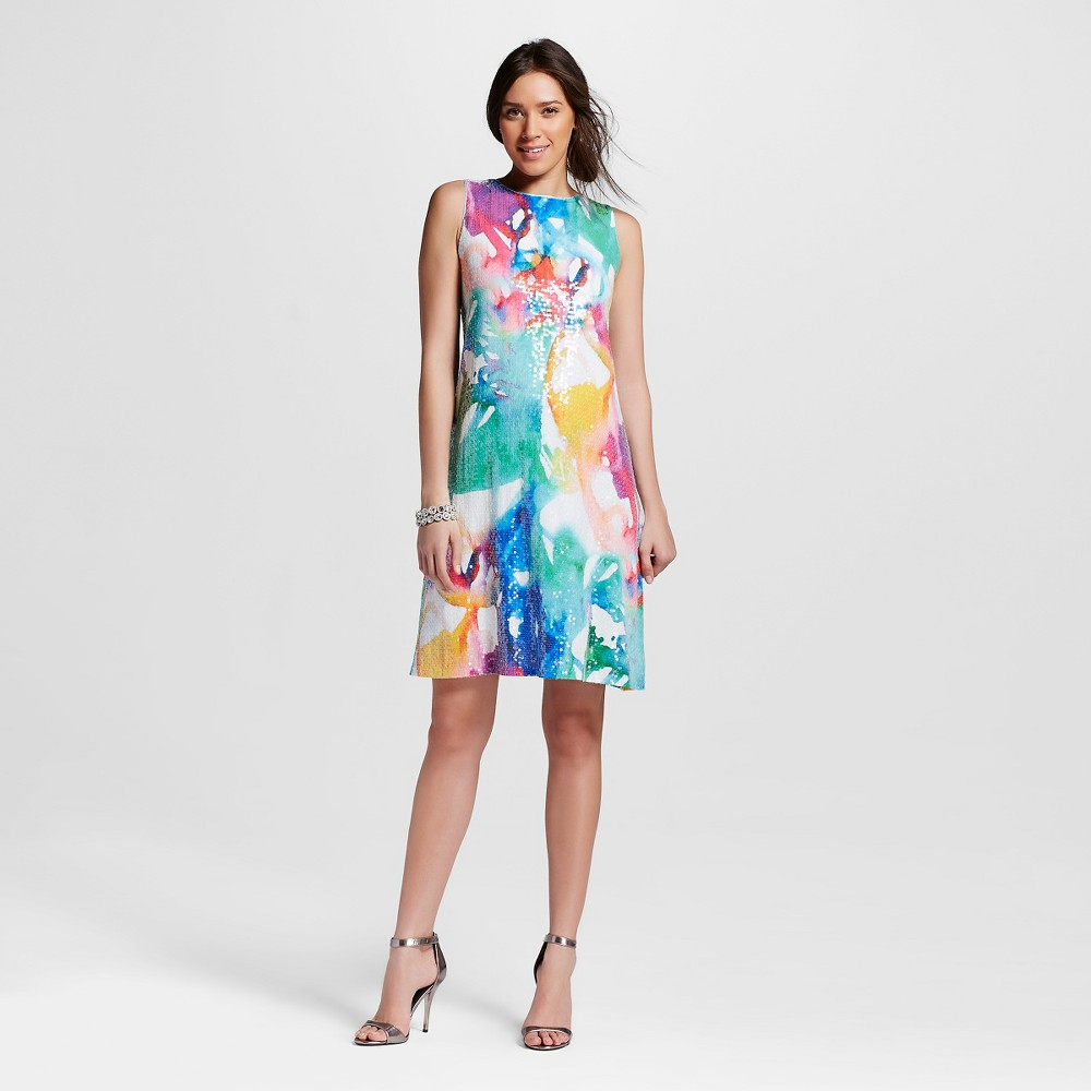 Women's Sequin Flare Dress Rainbow 8 - Julia, Multicolor Rainbow