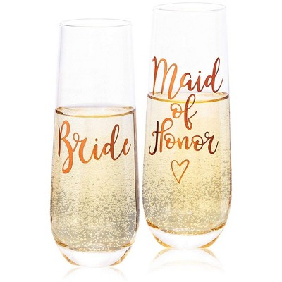 Juvale 2-Pack Rose Gold Glass Bride & Maid of Honor Stemless Champagne Wedding Glasses Flutes, 9.8 oz
