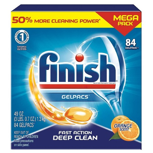Finish Gelpacs Dishwasher Detergent, Orange Scent, 84ct - image 1 of 4