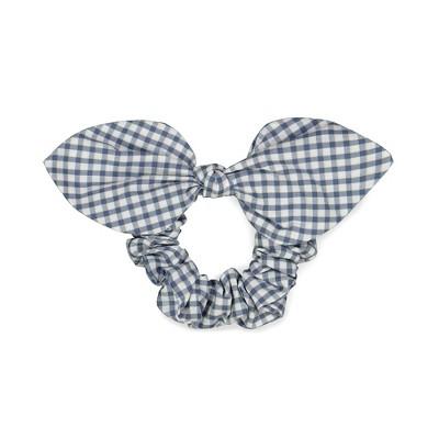 Hope & Henry Girls' Bow Hair Scrunchie, Light Navy Micro Check, Small