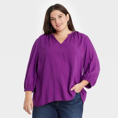 Women's Plus Size 3/4 Sleeve Popover Blouse - Ava & Viv™