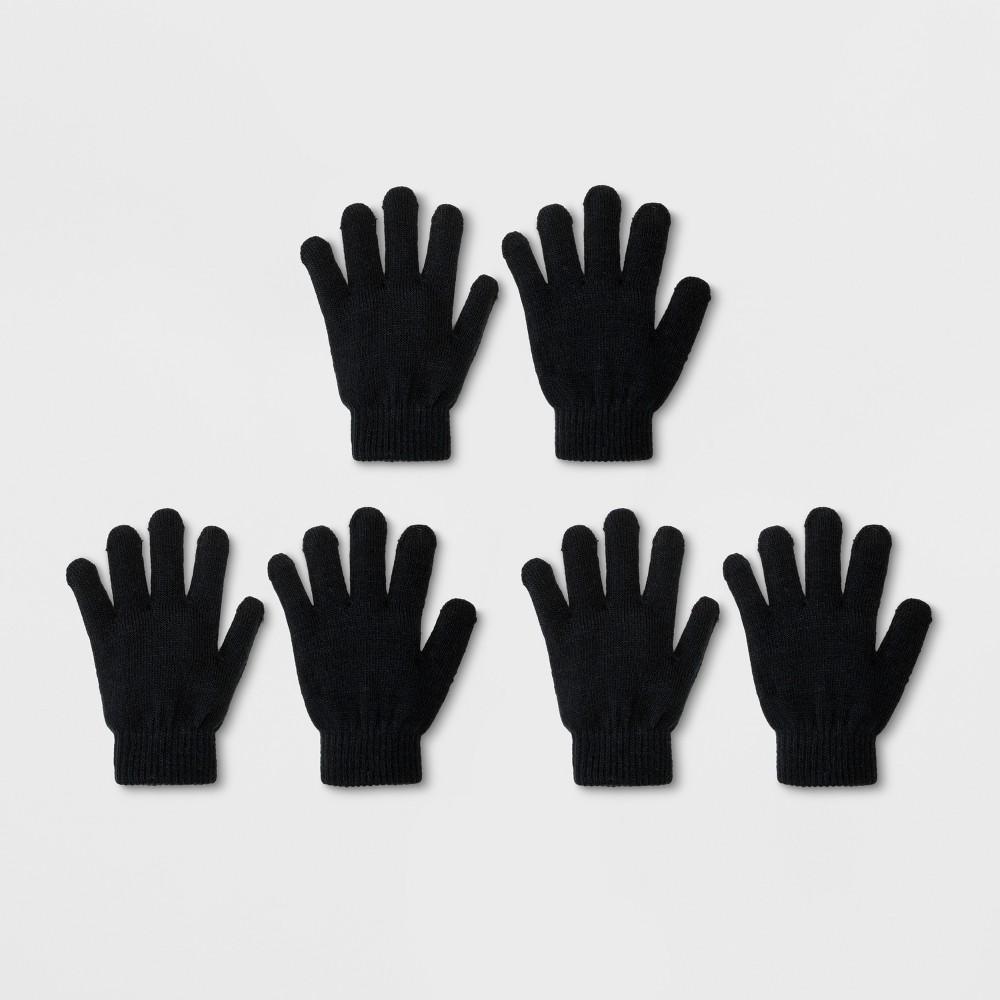 Boys' 3pk Solid Magic Gloves - Cat & Jack Black One Size