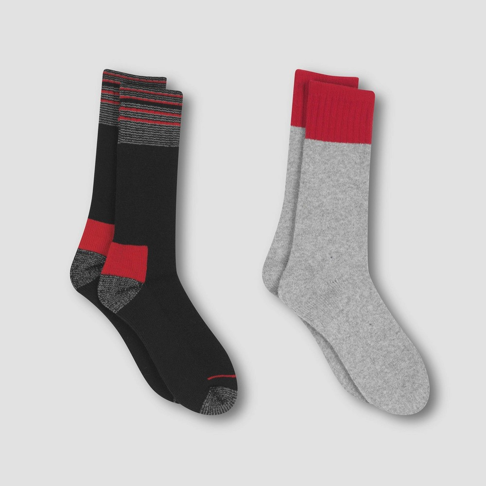 Image of Men's Outdoor Heavyweight Wool Blend Crew Socks 2pk - C9 Champion Red Spark 6-12, Size: Small