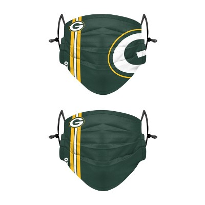 NFL Green Bay Packers Adult Gameday Adjustable Face Covering - 2pk