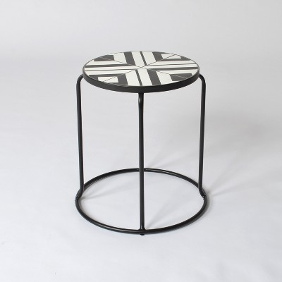 Geo Mosaic Indoor/Outdoor Stack Accent Table Black/Off-White - Project 62™